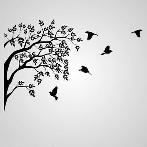 BRANCH AND FLYING BIRDS Sizes Reusable Stencil Shabby Chic Romantic Style 'Tree53'