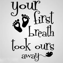 ,,FIRST BREATH... '' INFANT QUOTE Big & Small Sizes Colour Wall Sticker Modern Style 'N49'