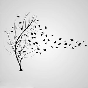 TREE & FALLING LEAVES IN THE WIND Big & Small Sizes Colour Wall Sticker Shabby Chic 'Tree11'