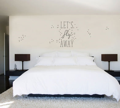 ,Let's Fly Away'' Quote Big & Small Sizes Colour Wall Sticker Modern Style / Q66
