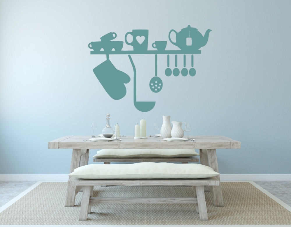 KITCHEN SET Big & Small Sizes Colour Wall Sticker Modern Style 'Cafe10'