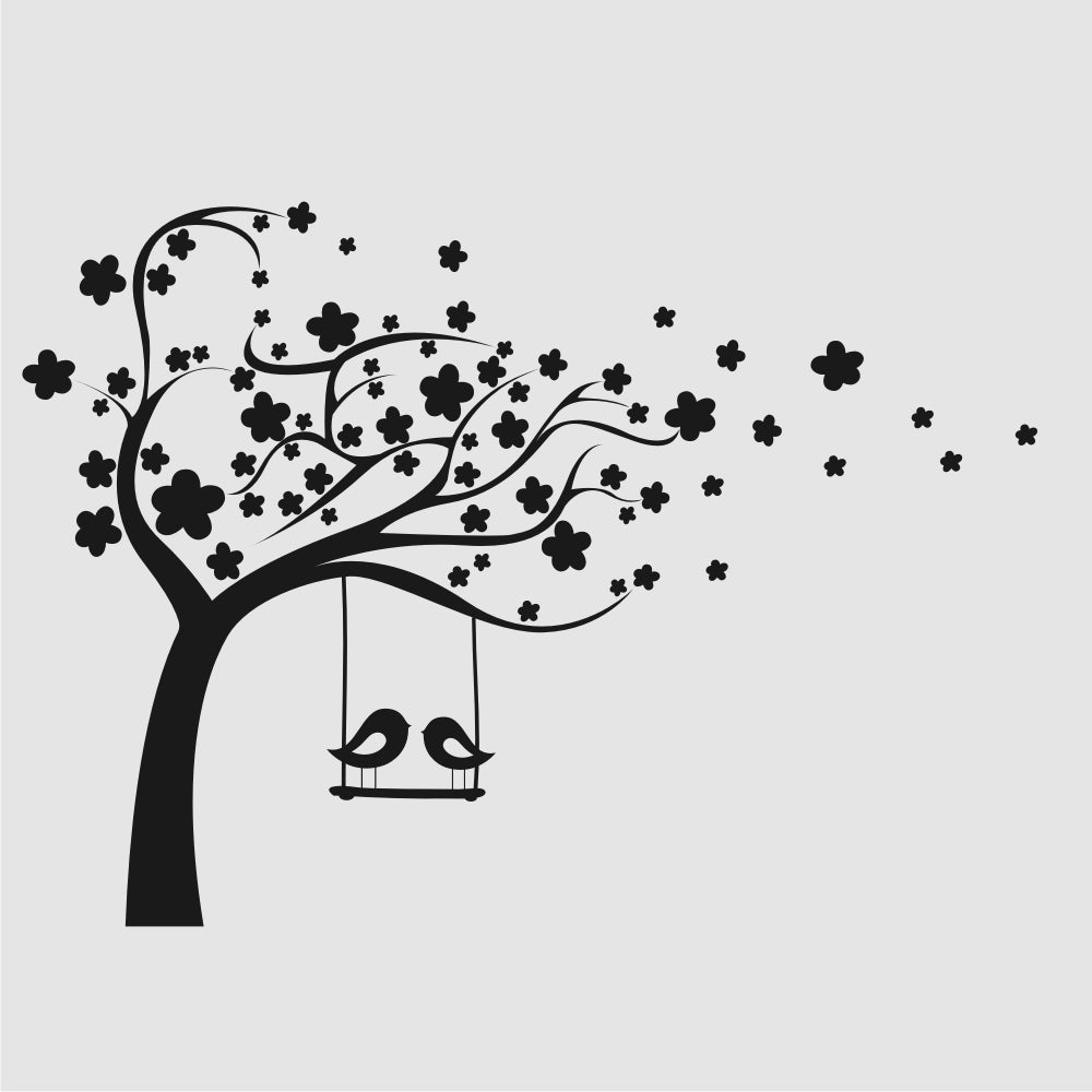 FLOWERS TREE & SWING LOVE BIRDS KIDS ROOM Sizes Reusable Stencil Animal Happy 'Kids61'