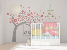 FLOWERS TREE & SWING LOVE BIRDS KIDS ROOM Big & Small Sizes Colour Wall Sticker Animals 'Kids61'