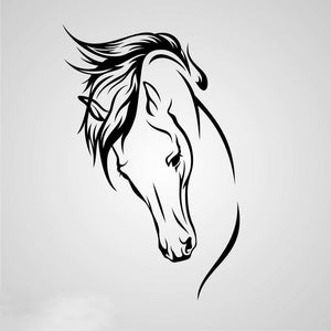 HORSE HEAD ARTISTIC SKETCH Big & Small Sizes Colour Wall Sticker Animal Romantic Style 'Animal146'