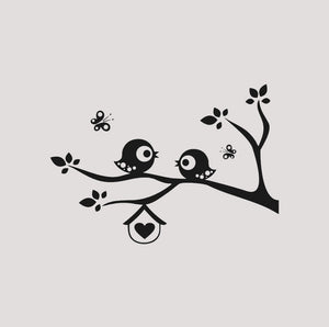 BIRDS ON BRANCH & BUTTERFLIES KIDS ROOM Sizes Reusable Stencil Animal Floral 'Kids74'