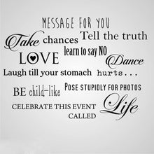LOVE DANCE LIFE QUOTE Big & Small Sizes Colour Wall Sticker Modern Romantic Style 'N75'