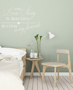 ,,LOVE STORY ...'' QUOTE Big & Small Sizes Colour Wall Sticker Valentine's Modern Style 'N94'