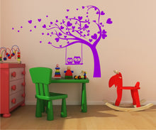 LOVE HEARTS TREE & OWLS KIDS ROOM Big & Small Sizes Colour Wall Sticker Shabby Chic 'Kids7'