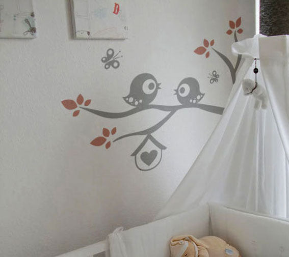 BIRDS ON BRANCH & BUTTERFLIES KIDS ROOM Big & Small Colour Wall Sticker Animal Modern 'Kids74'