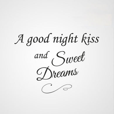 'A GOOD NIGHT KISS & SWEET DREAMS' QUOTE Big & Small Sizes Colour Wall Sticker Modern 'Q49'