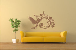 ARTISTIC FLORAL BIRD Big & Small Sizes Colour Wall Sticker Shabby Chic Romantic Style 'CH3'
