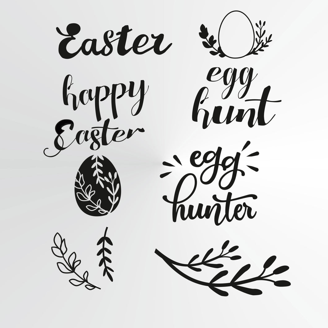 Happy Easter Egg Hunt Sizes Reusable Stencil Bunny Spring Palm Decoration 'E1'