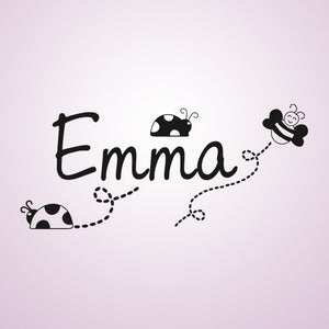 CUSTOM GIRL'S NAME Big Sizes Colour Wall Sticker Modern Kids room Bedroom 'EMMA'