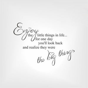'ENJOY THE LITTLE THINGS IN LIFE..' QUOTE Big & Small Sizes Colour Wall Sticker Modern 'Q36'