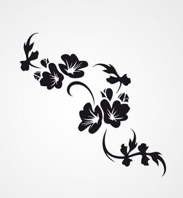 FLOWER BRANCH ORNAMENT Big & Small Sizes Colour Wall Sticker Shabby Chic Romantic 'F45'