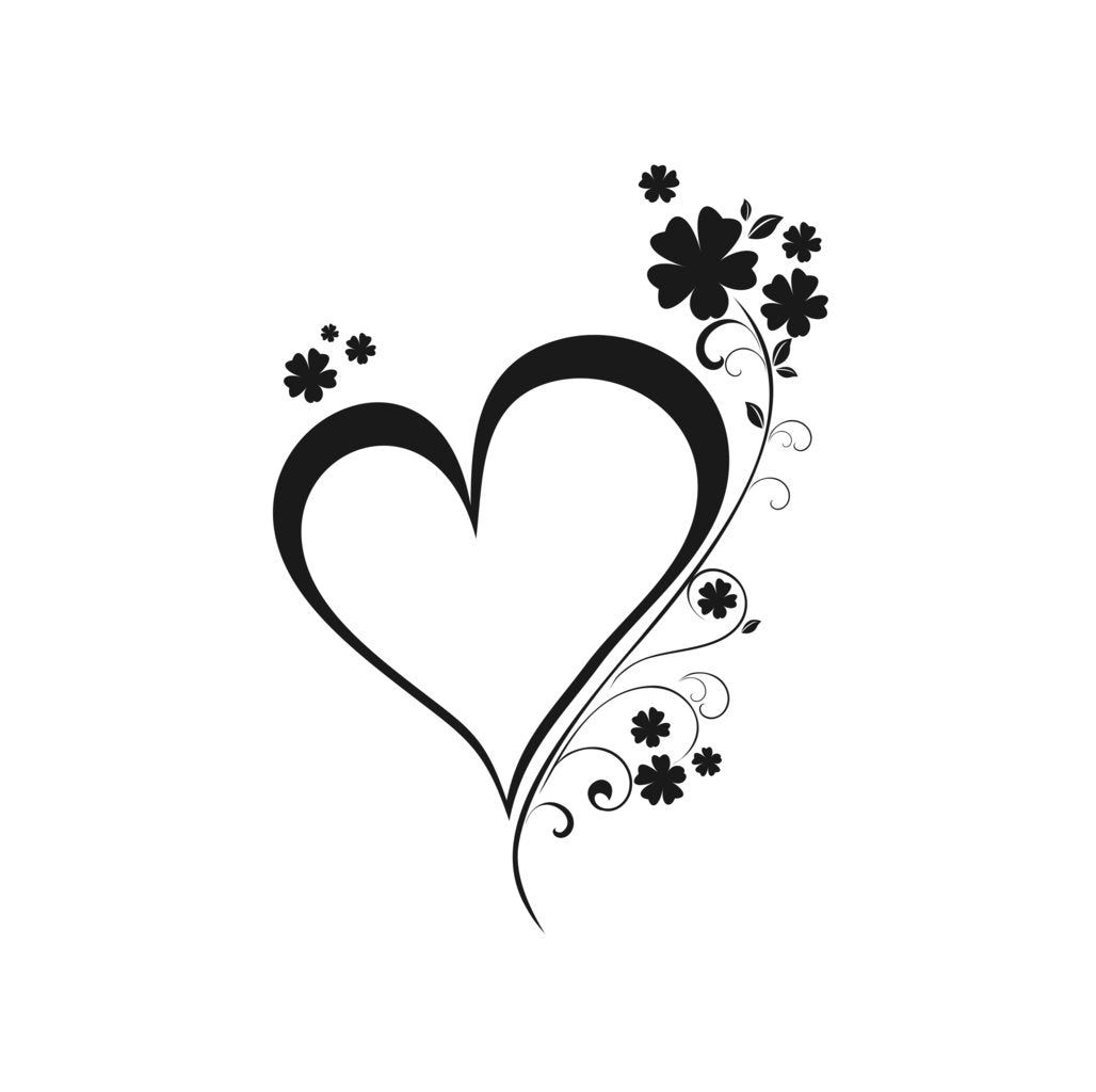 HEART FLOWER BRANCH Big & Small Sizes Colour Wall Sticker Valentine's Shabby Chic Romantic 'F46'
