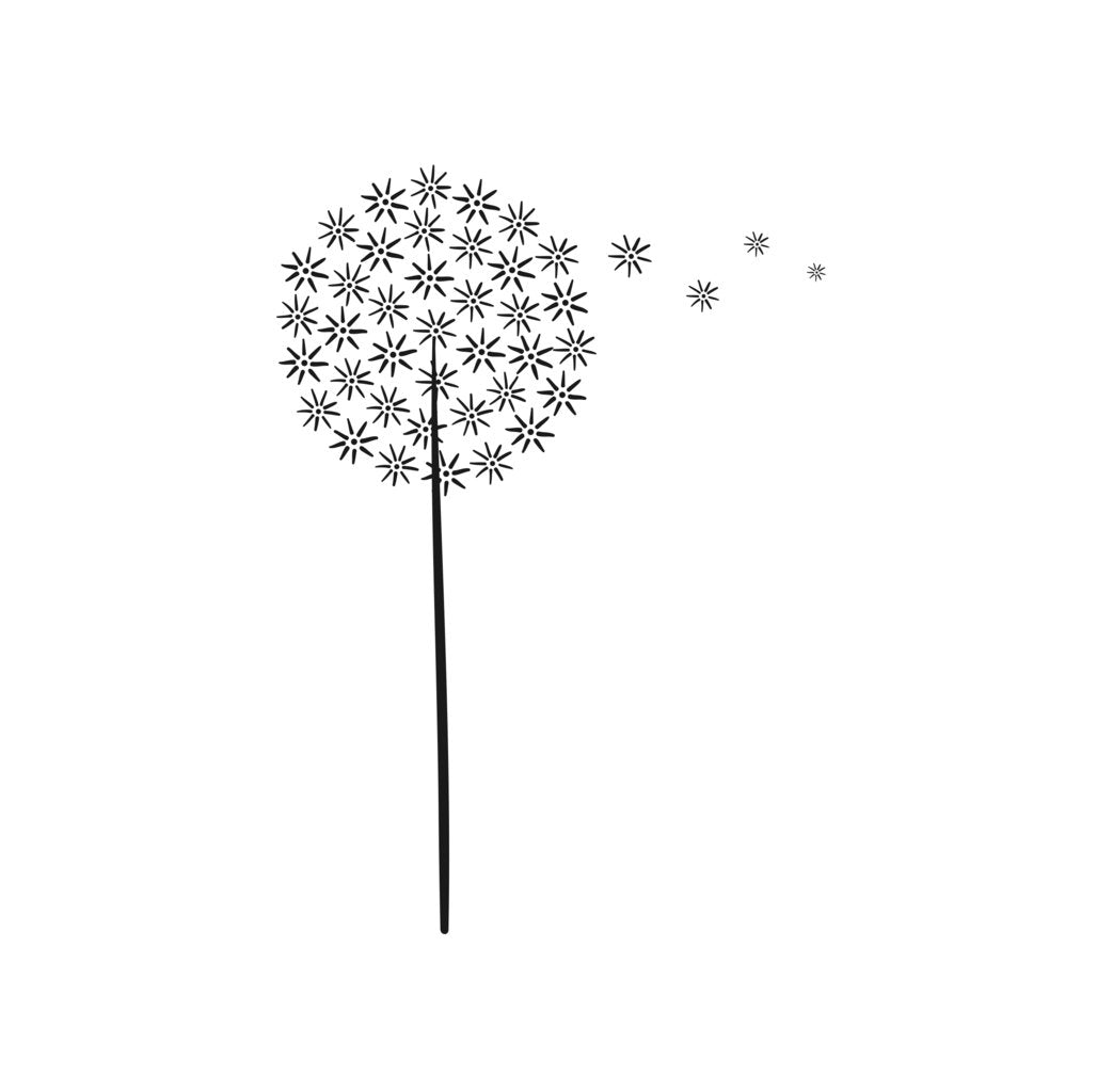 ROUND DANDELION SKETCH Sizes Reusable Stencil Shabby Chic Romantic 'Flora47'