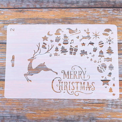 Merry Christmas Reindeer Presents/ Winter Cards Decoration Reusable Stencil Various Sizes / SNOW16