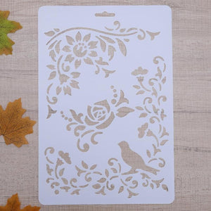Set of Birds and Flowers Border Size A4 Reusable Stencil Shabby Chic Decor / Deco6