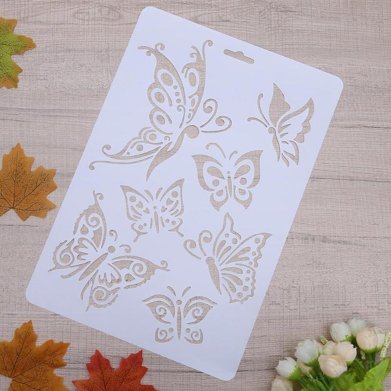 Set of Butterflies Reusable Stencil Size A4 Decor Shabby Chic Animal / B108