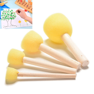 Set of 4 sponges Craft Decoupage Painting Tool Wooden Handle Sponge Art Supplies