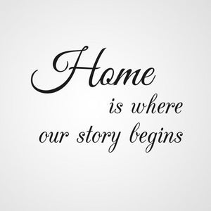 ,,HOME IS WHERE OUR STORY BEGINS '' QUOTE Sizes Reusable Stencil Modern Style 'Q64'