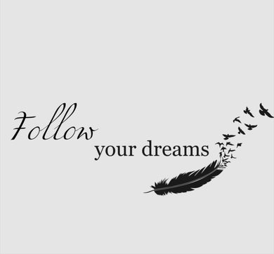 'FOLLOW YOUR DREAMS' FEATHERS QUOTE Sizes Reusable Stencil Modern Style 'N2'