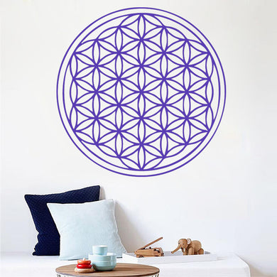 FLOWER OF LIFE MEDALLION Big & Small Sizes Colour Wall Sticker Oriental Modern 'Floweroflife'