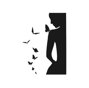 WOMEN WITH BUTTERFLIES Big & Small Sizes Colour Wall Sticker Modern Romantic Style 'J43'