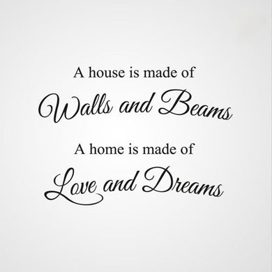 ,,A HOME IS MADE OF LOVE AND DREAMS...'' QUOTE Sizes Reusable Stencil Modern Style 'Q30'