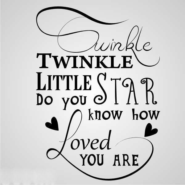 ,,TWINKLE LITTLE STAR... '' QUOTE Big & Small Sizes Colour Wall Sticker Modern Style 'N79'