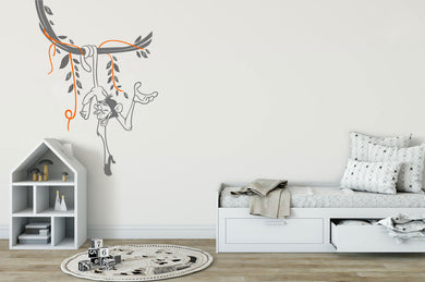 HAPPY MONKEY ON BRANCH KIDS ROOM Big & Small Sizes Colour Wall Sticker Animal Modern Style 'Monkey'