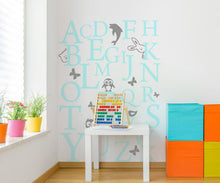LETTERS ALPHABET FOR KIDS ROOM Sizes Reusable Stencil Animals Happy 'Kids62'