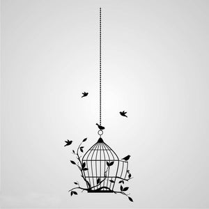 BIRDS IN CAGE ON THE CHAIN Sizes Reusable Stencil Shabby Chic 'Flora38'
