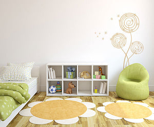 SPIRAL MAGIC FLOWERS SKETCH Big & Small Sizes Colour Wall Sticker Shabby Chic Romantic 'Flora28'