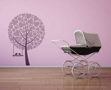 LOVE HEARTS TREE & BIRDS KIDS ROOM Big & Small Sizes Colour Wall Sticker Shabby Chic 'Kids6'