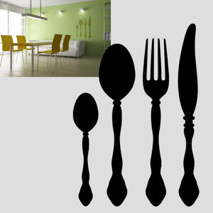 KITCHEN CUTLERY SET Big & Small Sizes Colour Wall Sticker Modern Country Cottage Style 'Cafe15'