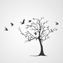 SINGLE TREE WITH FLYING BIRDS Big & Small Sizes Reusable Stencil Floral Nature 'Tree12'