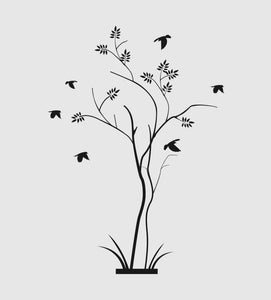 SMALL TREE & FLYING BIRDS Sizes Reusable Stencil Floral Tree Modern Style 'J38'