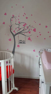 HEARTS TREE & OWLS ON SWING KIDS ROOM Sizes Reusable Stencil Animal Happy Modern 'Kids3'