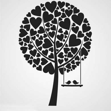 LOVE HEARTS TREE & BIRDS KIDS ROOM Sizes Reusable Stencil Animal Happy 'Kids6'