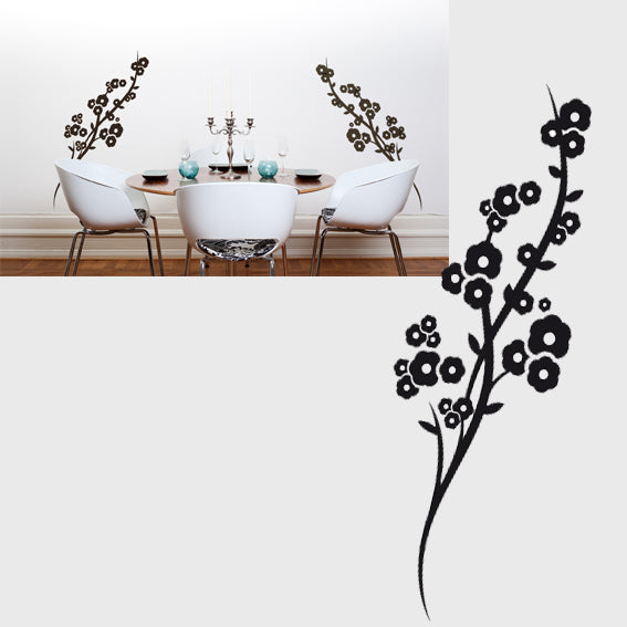 FLORAL TWIG CHERRY TREE & FLOWERS Big & Small Sizes Colour Wall Sticke Oriental Exotic 'Ch69'