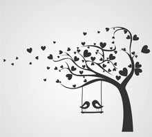 LOVE HEARTS TREE & SWING BIRDS KIDS ROOM VALENTINE'S Sizes Reusable Stencil Animal Happy 'Kids23'