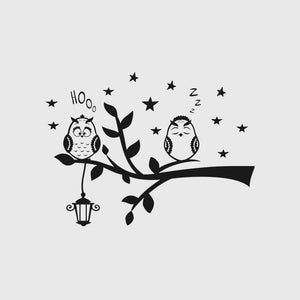 CRAZY OWLS ON BRANCH KIDS ROOM Sizes Reusable Stencil Animal Happy Modern Style 'Kids4'