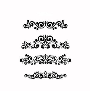 SET OF BAROQUE BORDERS ORNAMENTS Sizes Reusable Stencil Shabby Chic Romantic Style 'B8'