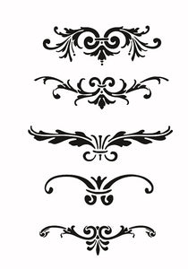 SET OF BAROQUE ORNAMENTS Sizes Reusable Stencil Shabby Chic Romantic Style 'B10'