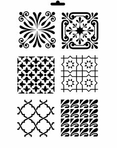 SET OF BAROQUE TILES Ornaments Moroccan Sizes Reusable Stencil Shabby Chic Romantic 'B7'