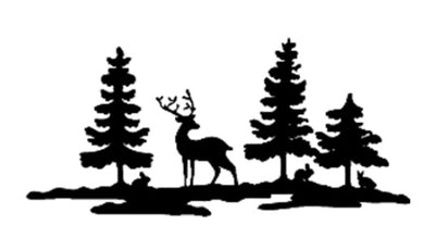 CHRISTMAS DEER FOREST Reusable Stencil Various Sizes Shabby Chic Art/ SNOW23