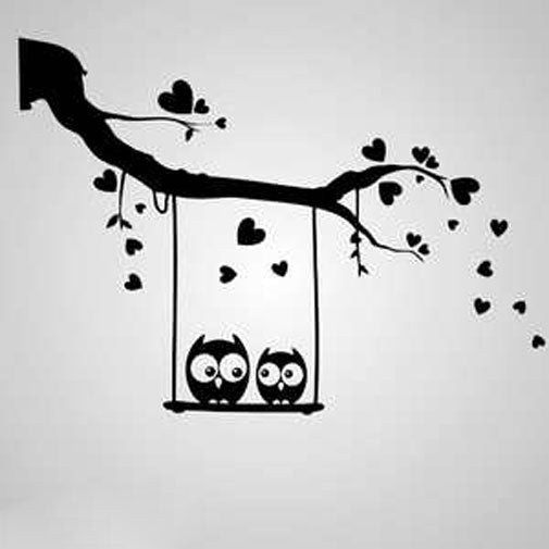 HEARTS BRANCH & SWING LOVE OWLS KIDS ROOM Sizes Reusable Stencil Animal Happy 'Kids72'