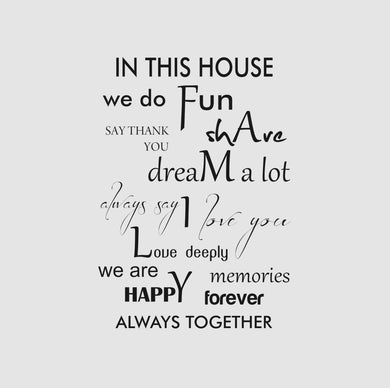 HOUSE FAMILY RULES QUOTE Big & Small Sizes Colour Wall Sticker Modern Romantic Style 'Q11'